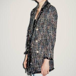 NWOT Zara Metallic Tweed Jacket